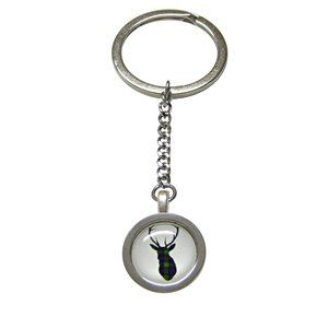 Circular Dark Green Stag Deer Head Keychain